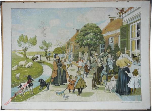 1910-1916. Vertelselplaat bij Hoogeveen's verbeterde leesplank [Vrouw met lange jurk; Groningen]