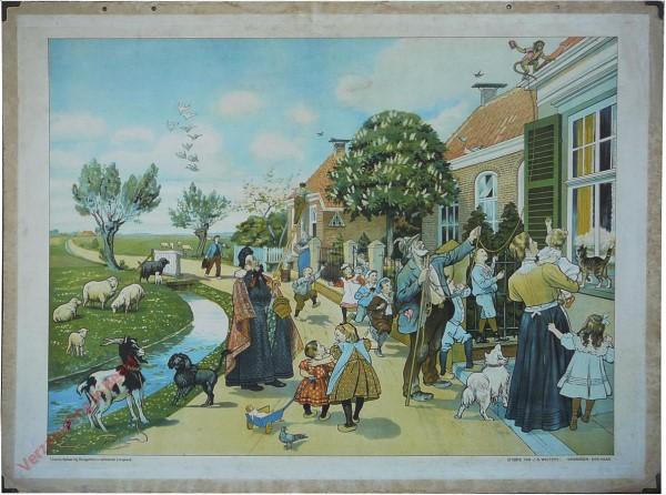 1916-1931. Vertelselplaat bij Hoogeveen's verbeterde leesplank [Vrouw met lange jurk; Groningen, Den Haag]