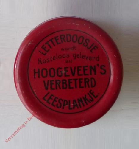 1910-1915. Letterdoosje [Klein, rood blik, opstaande rand; Groningen]