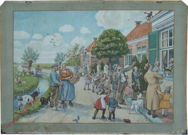1932-1933. Vertelselplaat bij Hoogeveen's verbeterde leesplank [Vrouw met kortere jurk, auto; Groningen, Den Haag, Batavia]