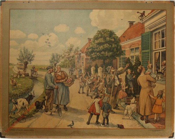 1934-1949. Vertelselplaat bij Hoogeveen's verbeterde leesplank [Vrouw met kortere jurk, auto; Groningen, Batavia]