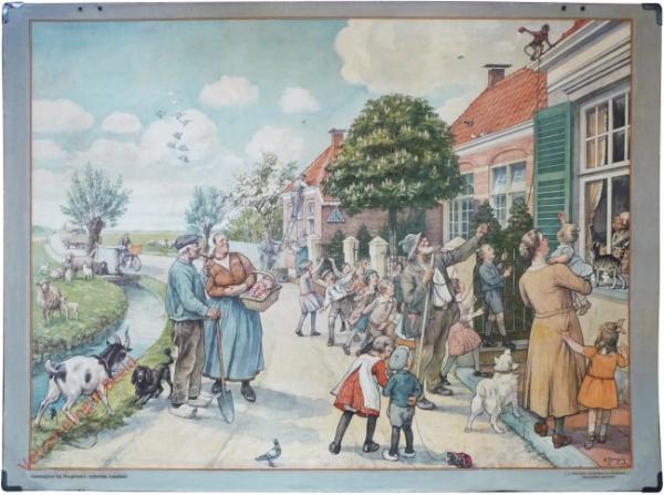 1948[?]-1949. Vertelselplaat bij Hoogeveen's verbeterde leesplank [Vrouw met kortere jurk, auto; Groningen, Batavia, kleiner]