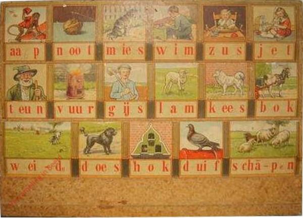 1956-1960. aap noot mies, Hoogeveens leesplankje [Bok kijkt naar rechts, spaanplaat; Groningen]