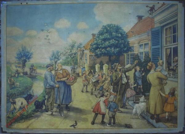 1950-1955. Vertelselplaat bij Hoogeveen's verbeterde leesplank [Vrouw met kortere jurk, auto; Groningen, Djakarta]