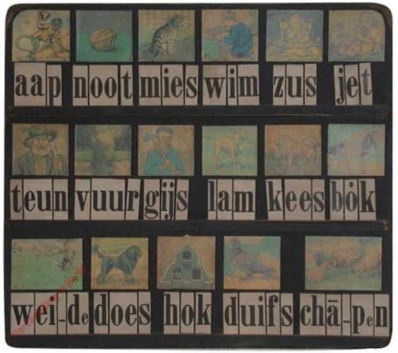 1956-1960. aap noot mies, Klassenplank voor in de schoolbus [Zwart, ronde hoeken, Groningen]