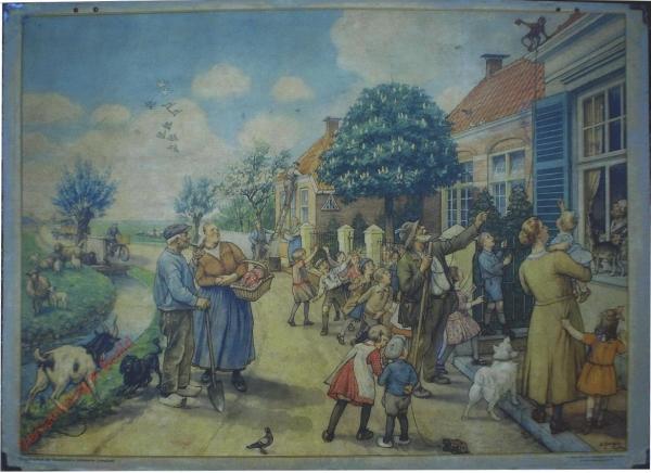 1956-1960. Vertelselplaat bij Hoogeveen's verbeterde leesplank [Vrouw met kortere jurk, auto; Groningen]