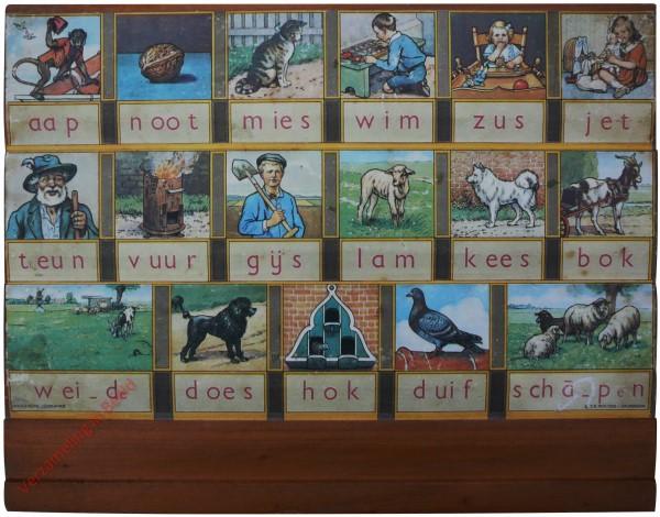 1961-1966. aap noot mies, Hoogeveens leesplankje [Bok kijkt naar rechts, beukenhout; Groningen voorop]