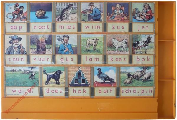 1967-1975. aap noot mies, Het echte leesplankje [Geel, plastic; Wolters-Noordhoff Groningen]