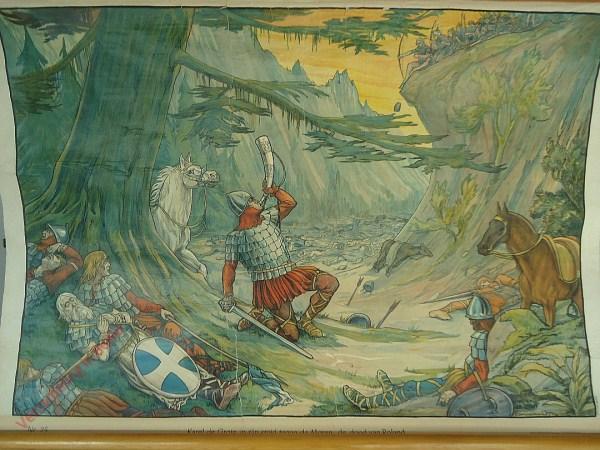 25 - Karel de Groote in zijn strijd tegen de Mooren. De dood van Roland te Roncevaux