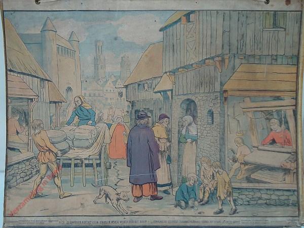 31 - De gemeenten in de XIIIe eeuw: Vlaamsche wevers werken vóór het raam