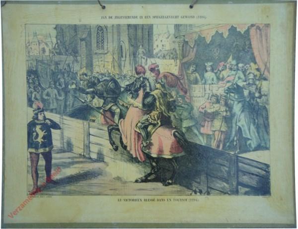 8 - Jan de zegevierende in een spiegelgevecht gewond (1294). Le victorieux blessé dans un tournoi (1294)