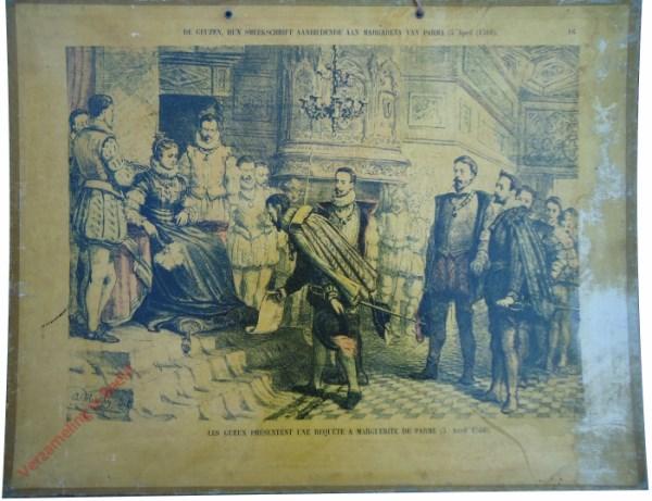 16 - De geuzen, hun smeekschrift aanbiedende aan Margareta van Parma (5 April 1566). Les Geux présentent une requète a Marguerit