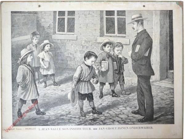5 [4 oud] - Jean salue son instituteur. Jan groet zijnen onderwijzer