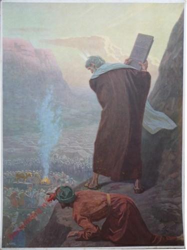 12 - Mozes op de berg Sinaï met de Tafelen der Wet