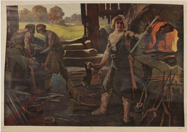 Serie I, Bild 1 - Jung Siegfried in der Schmiede