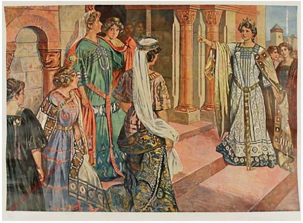 Serie I, Bild 5 - Brunhild und Kriemhild im Streit