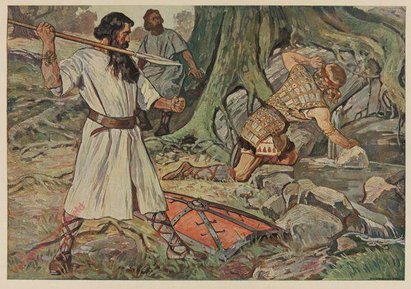 Serie I, Bild 6 - Hagen mit dem Speer hinter Siegfried