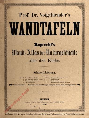 Wandatlas für den Unterricht in der Naturgeschichte aller drei Reiche. Schluss Lieferung