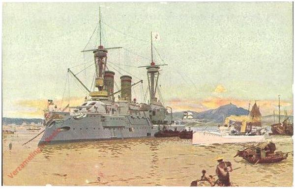 9 - Panorama des Hafens von Tsingtau mit Panzerschiff und Torpedoboot [Kiau-tschou]