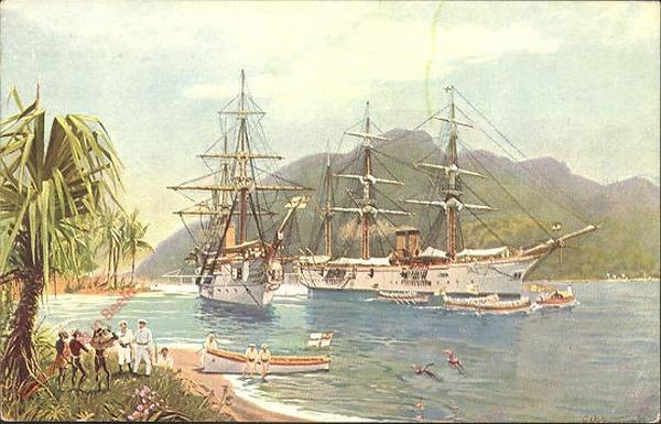 10 - Kreuzer und Kanonenboot hissen auf poape die deutsche Flagge [Karolinen]