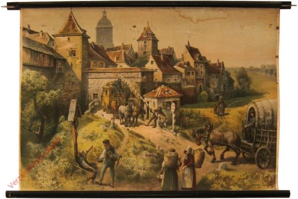 K.I.17 - Vor dem Tore einer Stadt um 1800