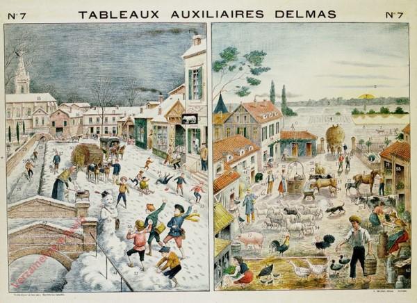 Série II : N°7 - Le Village en hiver, Métiers divers. La Maison rustique au Printemps