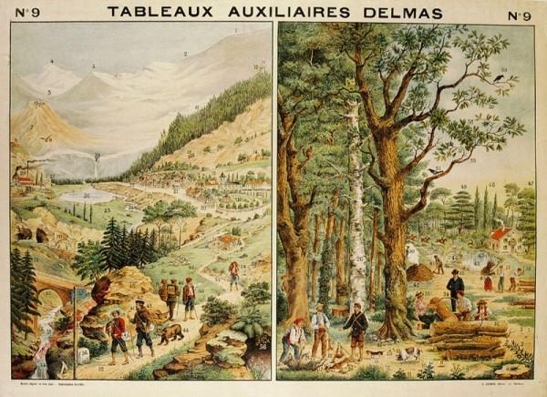 Série II : N°9 - La Montagne et la Station thermale. La Forêt, la Chasse