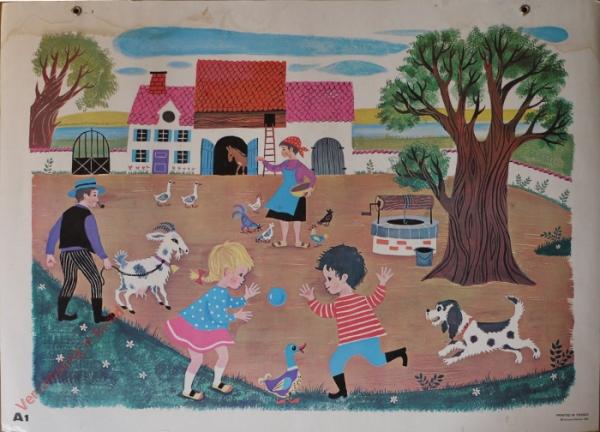 A1 - La ferme et les enfants poule chien ane