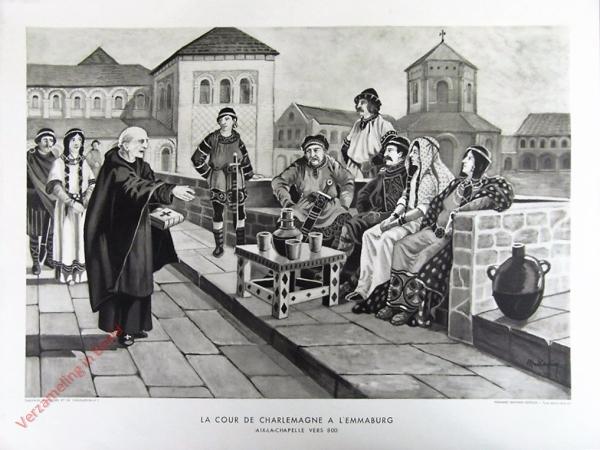 5 - La cour de charlemagne a L 'emmaburg. Aix-La-Capelle vers 800