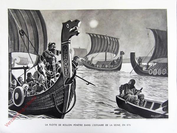 6 - La flotte de Rollon p�net� dan l'estuaitre de la Seine, en 876