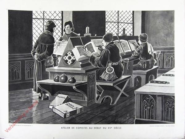 13 - Atelier de Copistes au debut du XVe si�cle