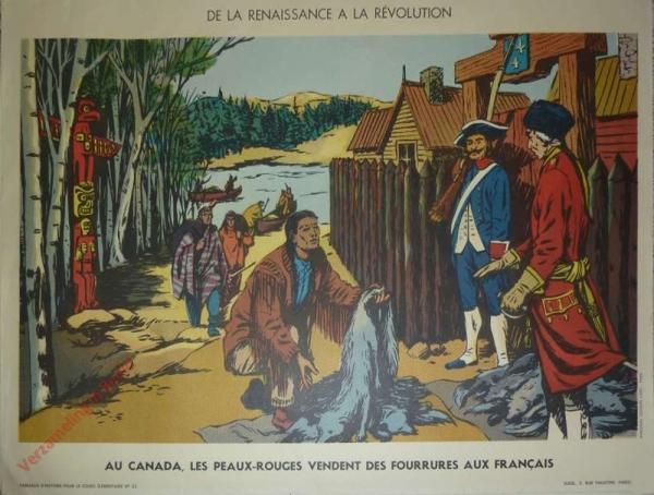 23 - Au Canada, les peaux rouges vendent des fourrures aux Français