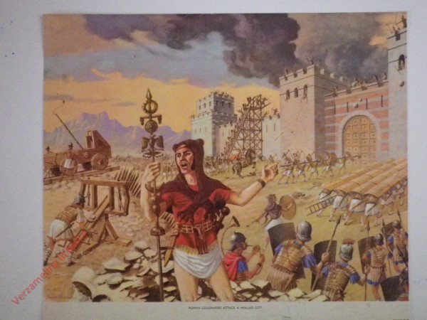 Roman legionaries attack a walled city