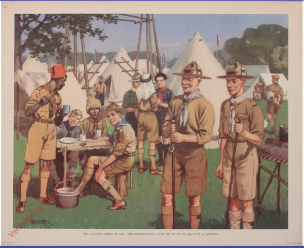 Set 3-161 - 1929. Scouting Comes of Age. Lord Baden Powell with the Prince of Wales at a Jamboree