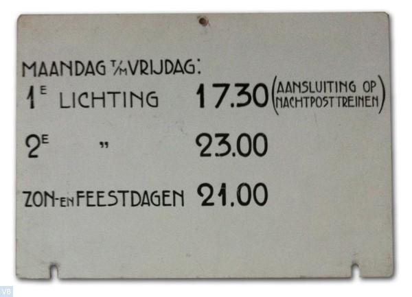Lichtingstijdenbordje brievenbus