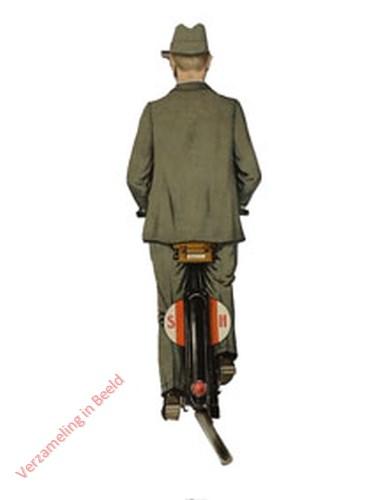1 - [Man op fiets, achterkant]