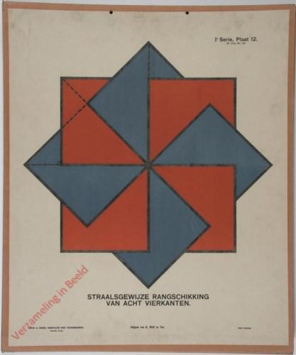 Straalsgewijze rangschikking van acht vierkanten