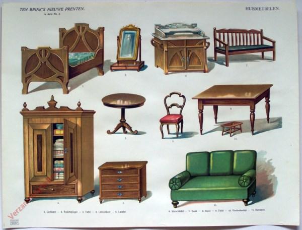 1e serie nr. 3 - Huismeubelen (met een bed in Jugendstil)