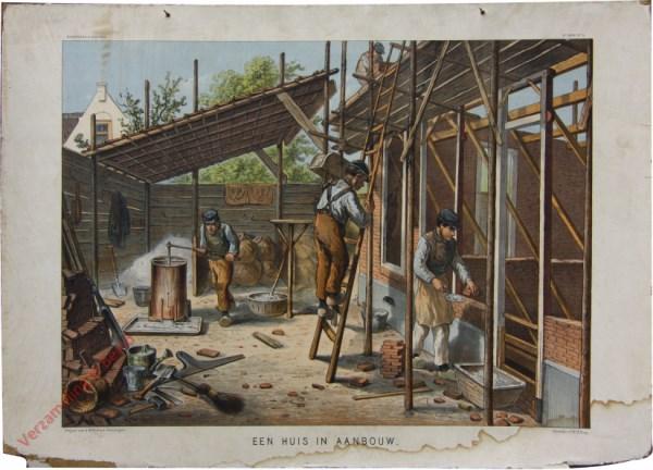 2e serie No. 9 - Een huis in aanbouw [Muurtje rechts laag]