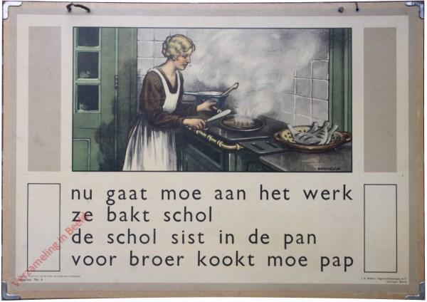 6 - nu gaat moe aan het werk. Ze bakt schol. De schol sist in de pan. Voor broer kookt moe pap