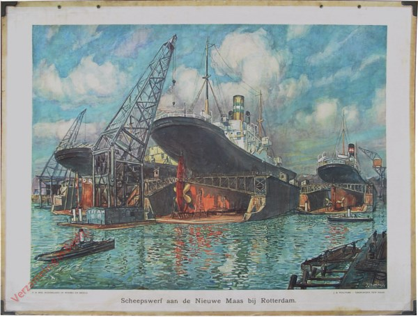 19 - Scheepswerf aan de Nieuwe Maas bij Rotterdam [zwart schip in dok]