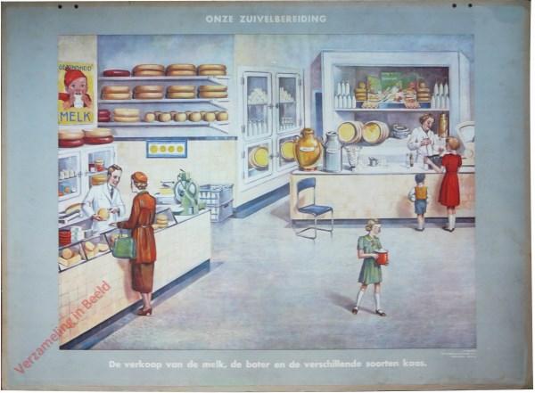 De verkoop van de melk, de boter en verschillende soorten kaas