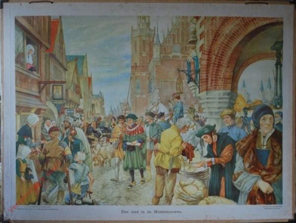 [Var2] - Een stad in de Middeleeuwen [Man rechts met blauwe kap, zak rechtsonder open]