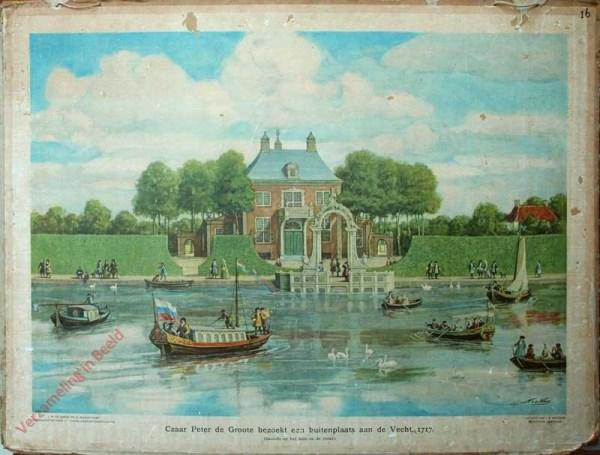 [Var2] - Czaar Peter de Groote bezoekt een buitenplaats aan de Vecht, 1717. (Gezicht op het huis en de rivier)