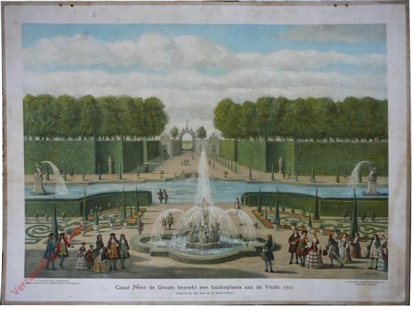 [Var2] - Czaar Peter de Groote bezoekt een buitenplaats aan de Vecht, 1717. (Gezicht op den tuin en de waterwerken)