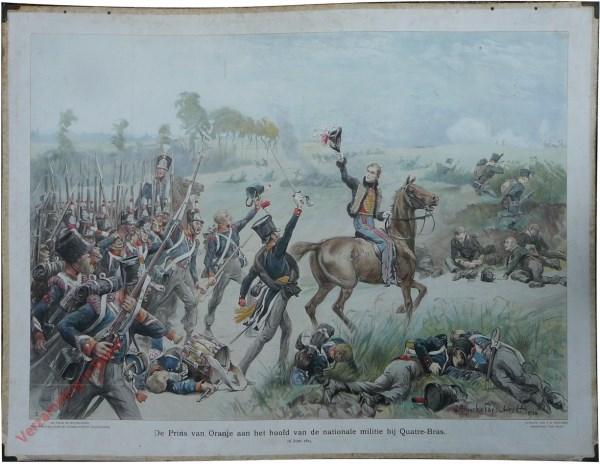 [Var1] - De Prins van Oranje aan het hoofd van de Nationale Militie bij Quatre-Bras, 16 juni 1815