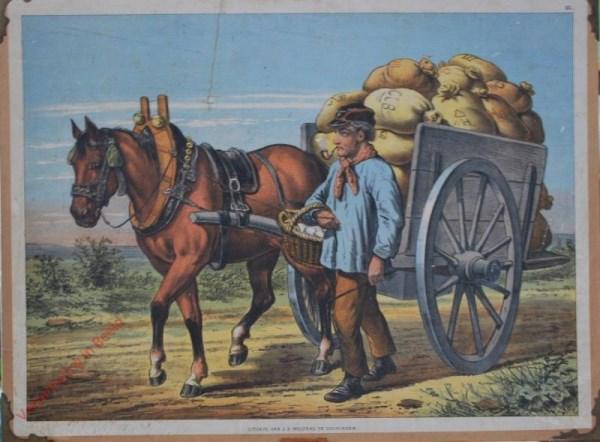 1e serie No. 13 - Vrachtkar met Voerman [Mand in rechterarm, één steen rechts van man]