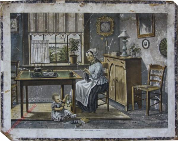 1e serie No. 16 - De Huiskamer [Moeder breidt]