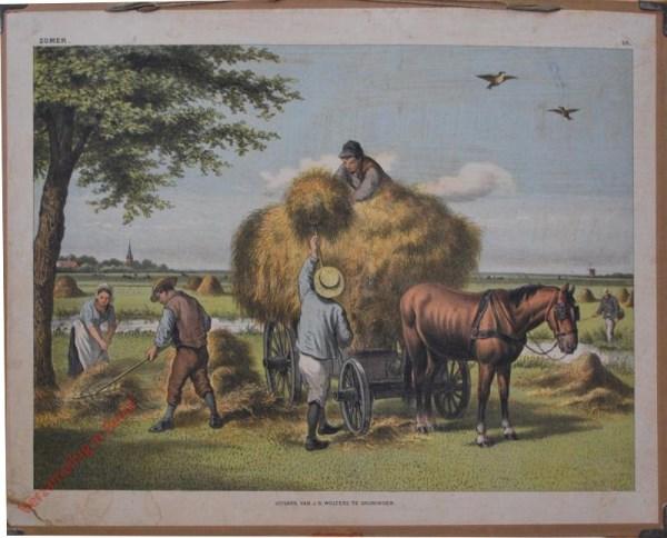 1e serie No. 18 - De Zomer [Jongen op hooiwagen met pet, paard meer ribben]