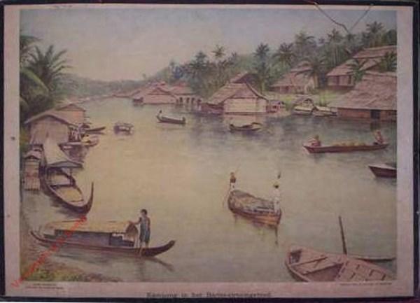10 - Kampong in het Barito-stroomgebied. Borneo [bootje links met mannetje rechts]